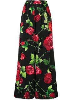Dolce & Gabbana wide leg rose print trousers