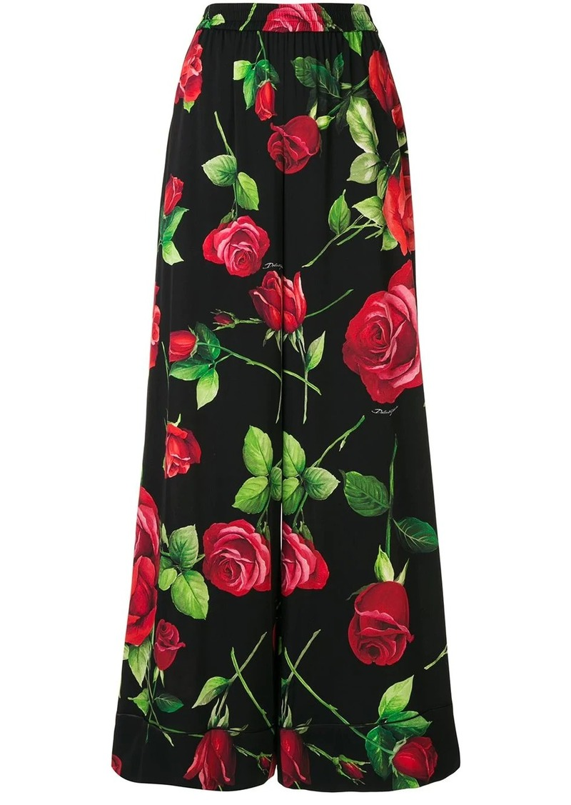 Dolce & Gabbana wide leg rose print trousers