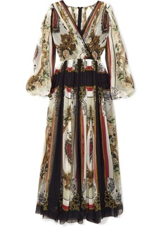 Dolce & Gabbana Wrap-effect Printed Silk-chiffon Maxi Dress