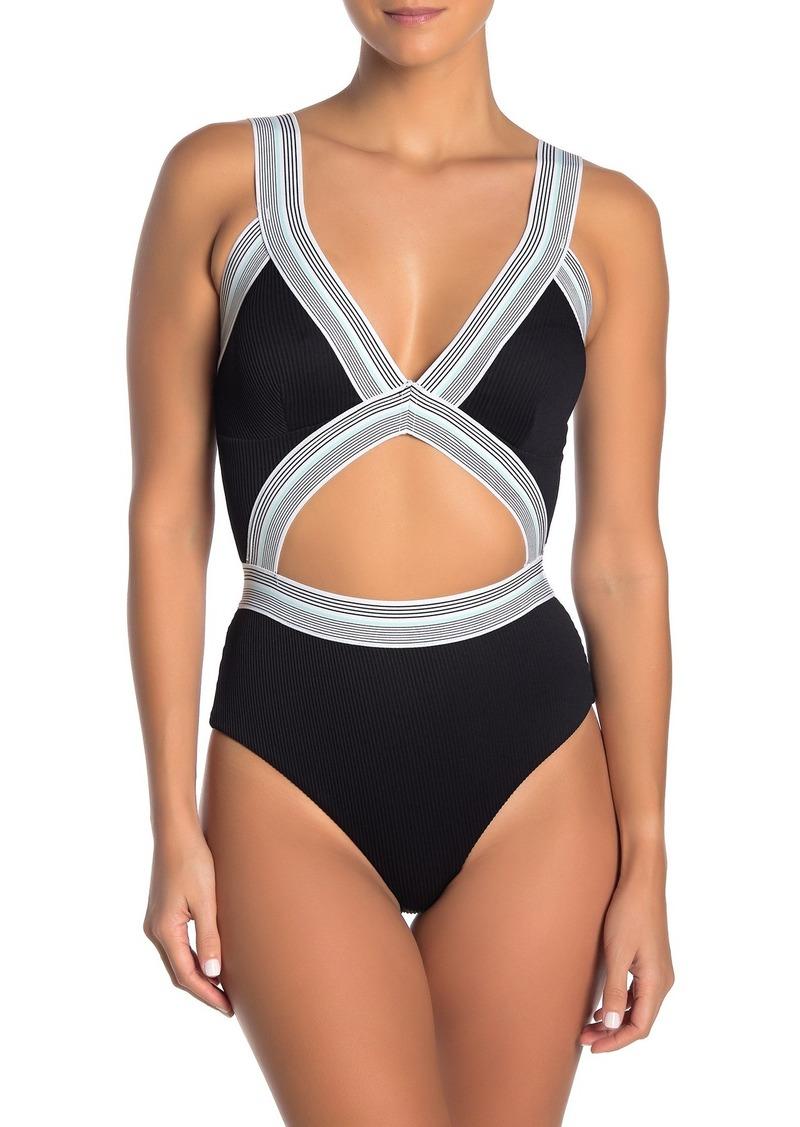 Dolce Vita Contrast Stripe One-Piece Swimsuit