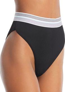 Dolce Vita Fast Lane Ribbed High Waist Bikini Bottom