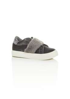 Dolce Vita Girls' Caisi Velvet & Faux-Fur Low-Top Sneakers - Little Kid, Big Kid
