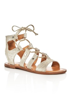Dolce Vita Jasmyn Metallic Lizard Embossed Lace Up Gladiator Sandals