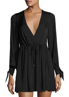 Dolce Vita Jenny Cold-Shoulder Drawstring Satin Dress