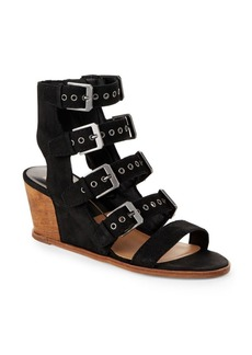 Dolce Vita Laken Leather Wedge Cage Sandals