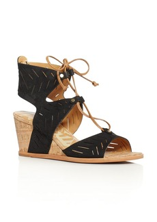 Dolce Vita Langly Perforated Lace Up Cork Wedge Sandals