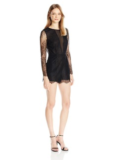 Dolce Vita Women's Eden Long Sleeve Lace Romper With Open Back  L
