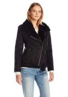 Dolce Vita Women's Suede and Faux Shearling Combo Veronica Moto Jacket
