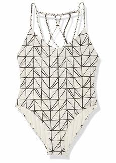 Dolce Vita Women's Rough & Tumble Abstract Geometric Lattice Beaded Back One Piece Swimsuit  XS