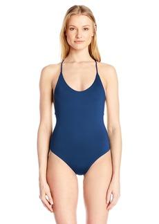 Dolce Vita Women's Solid One Piece Cross Back Swimsuit  M