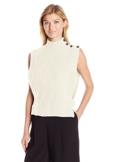 Dolce Vita Women's Yumi Sleeveless Button Shoulder Cable Knit Sweater