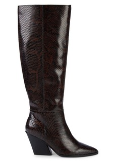Dolce Vita Isobel Embossed-Snakeskin Leather Knee-High Boots