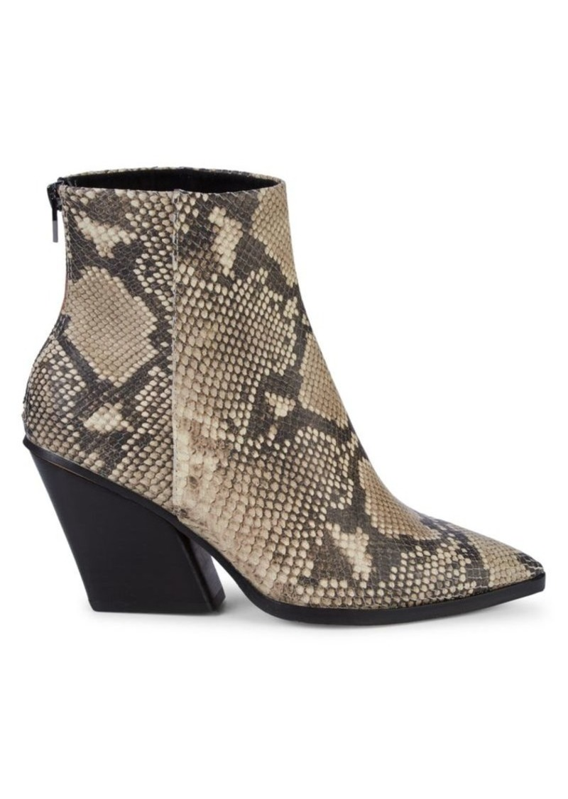 Dolce Vita Issa Snakeskin-Print Leather Ankle Boots