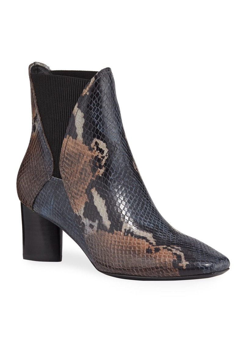 Donald J Pliner Austen Painted Python-Print Leather Chelsea Booties