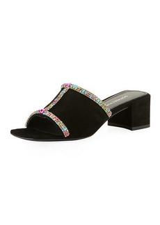 Donald J Pliner Bete Crystal Embellished Suede Mule Sandals