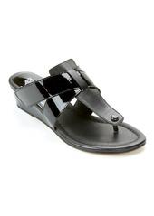 Donald J Pliner + Leather Wedge Flip Flops
