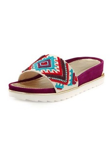 Donald J Pliner Cava Embroidered Wedge Slide Sandal