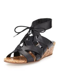 Donald J Pliner Dalie Lace-Up Leather Demi-Wedge Sandal