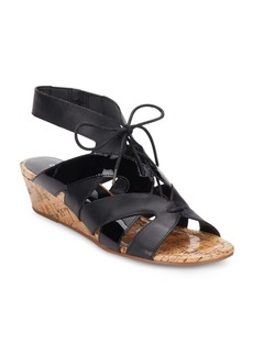 Donald J Pliner Dalie Leather & Patent Leather Lace-Up Wedge Sandals