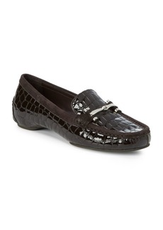 Donald J Pliner Embossed Leather Driver Loafers
