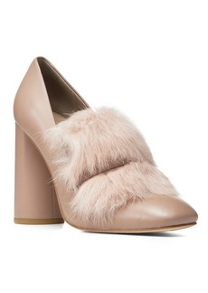 "Donald J Pliner ""FAUNE"" Leather and Fur Pumps"