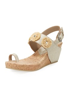 Donald J Pliner Gilly Floral Cork-Wedge Metallic Leather Sandal