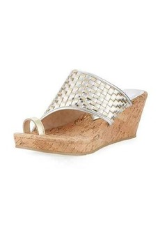 Donald J Pliner Gyer Metallic Woven Wedge Sandal