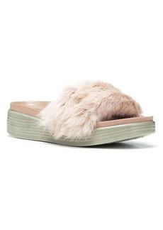 Donald J Pliner Real Rabbit Fur Footbed Slide Sandal