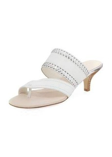 Donald J Pliner Ruge Whipstitch Kitten-Heel Slide Sandal