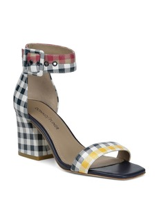Donald J Pliner Donald Pliner Women's Watson Gingham-Print Color-Block Leather Block Heel Sandals