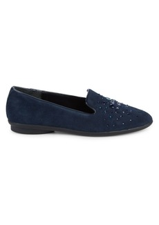 Donald J Pliner Embellished Suede Loafers