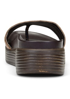 Donald J Pliner Fiji Low Wedge Leather Snakeskin Embossed Slide Sandal
