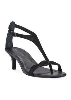 Donald J Pliner Kate Metallic Suede T-Strap Sandals