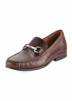 Donald J Pliner Niles Lizard-Embossed Leather Horsebit Loafer