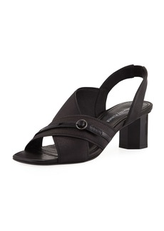 Donald J Pliner Radly Metallic Fabric Octagonal-Heel Slingback Sandal