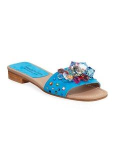 Donald J Pliner Tropa Jeweled Flat Suede Slide Sandals