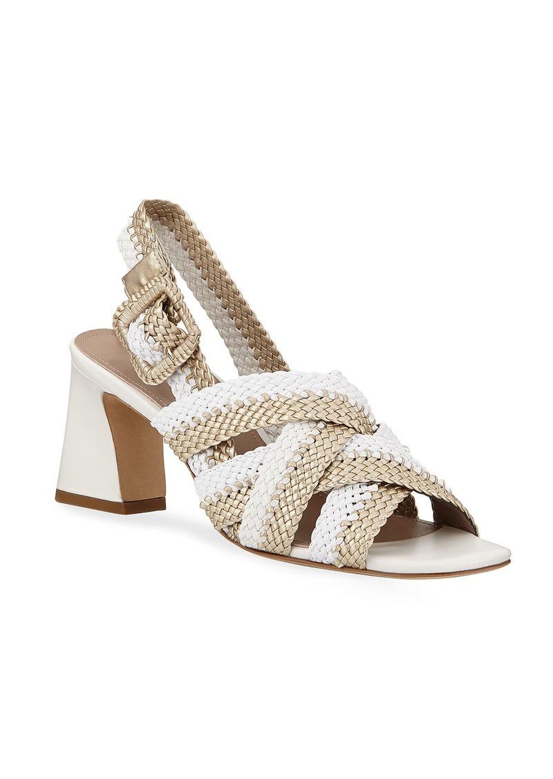 Donald J Pliner Vara Metallic Woven Sandals