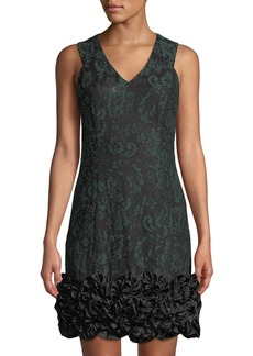 Donna Ricco Bonded Lace Ruffle-Hem Cocktail Dress