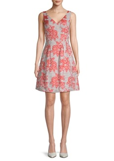 Donna Ricco Brocade V-Neck Fit-&-Flare Dress