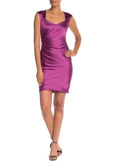 Donna Ricco Cap Sleeve Ruched Sheath Dress