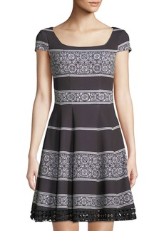Donna Ricco Cocktail Dress with Crochet Hem