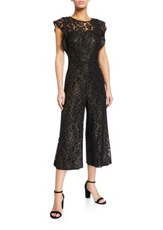 Donna Ricco Cropped Flutter-Sleeve Metallic Lace Jumpsuit