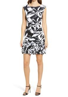 Donna Ricco Abstract Floral Ruffle Hem Scuba Knit Sheath Dress
