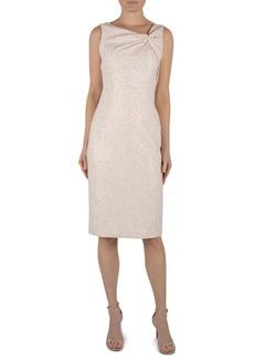 Donna Ricco Asymmetrical Knot-Neck Jacquard Dress