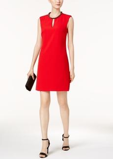 Donna Ricco Beaded-Neck Sheath Dress