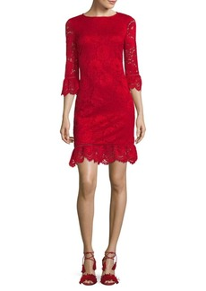 Donna Ricco Bell-Sleeve Lace Dress