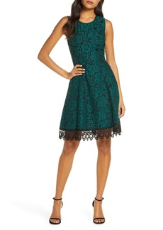 Donna Ricco Bonded Floral Lace Sleeveless Fit & Flare Dress
