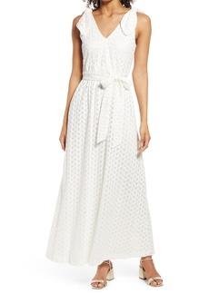Donna Ricco Bow Shoulder Belted Lace Dress