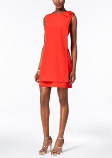 Donna Ricco Bow-Shoulder Layered Sheath Dress