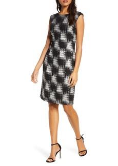 Donna Ricco Brushstroke Check Bouclé Dress